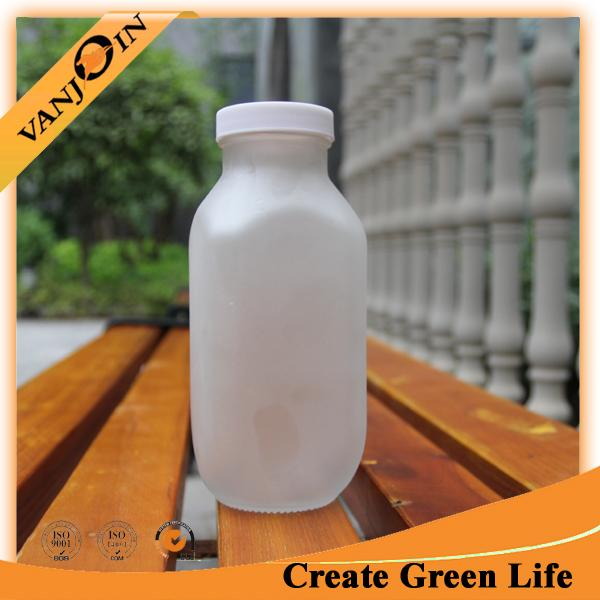 Fancy Frosted White Glass French Square Bottles 480ml Wholesale