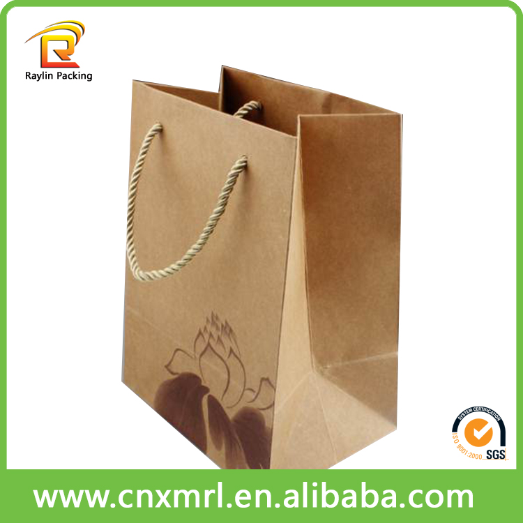 Cheap advertising tote shopping paper bag,kraft paper shopping bag