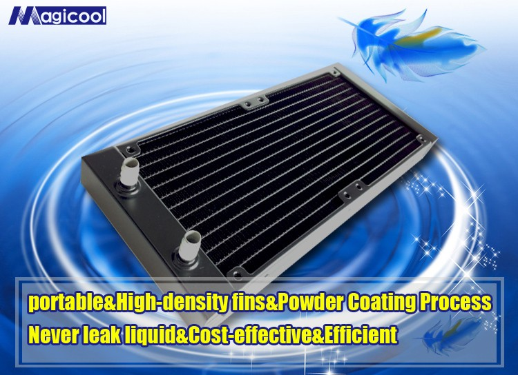 high performance aluminum computer CPU water cooling radiator with 27mm thickness and 240mm length