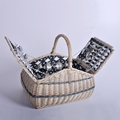 Handmade Natural Willow Wicker Picnic Basket 4 Persons Antique Cheap Lunch Bags