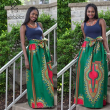 African Dashiki Print Maxi Skirt In Vibrant Green With Sash, african female clothes