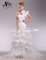 2017 Bridal Gowns Layers White One Shoulder Mermaid/Trumpet Satin Ruffles Sash Rhinestone Lace-up Wedding Dresses