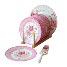 8inch 9inch 10.5inch cheap butterfly blue pink antique bone china ceramic brithday cake plate with gold trim