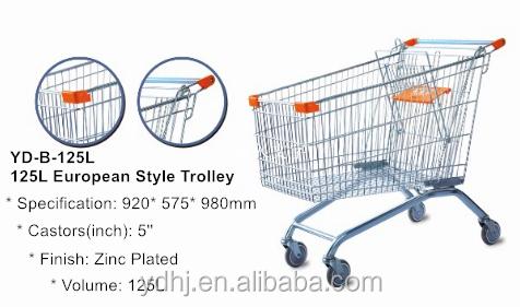 180L metal supermarket shopping cart Europe style