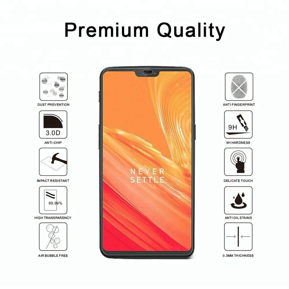 2.5D 0.3mm 9h premium anti shock tempered glass screen protector for oneplus 6