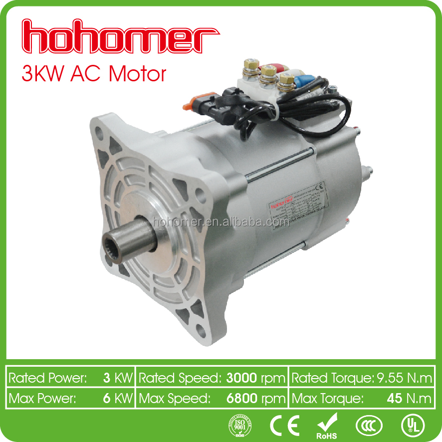 3000rpm to 6800 rpm electric car ac motor 3KW DC48V