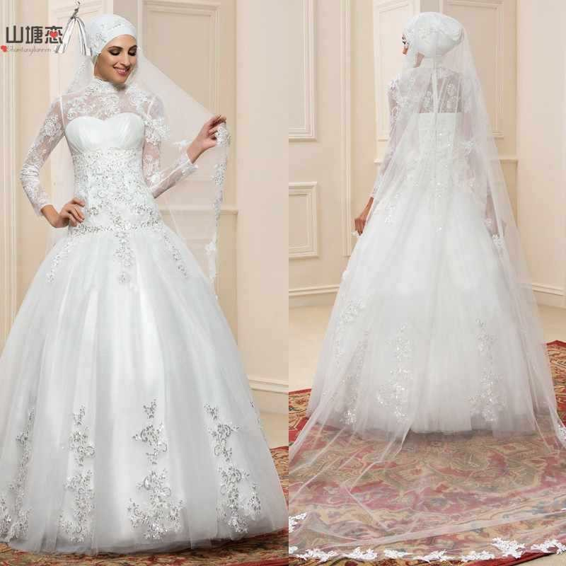 2016 new arabic designs high neck lace long sleeve dubai for Wedding dress in dubai