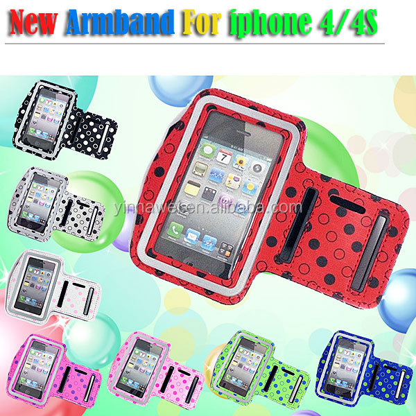 Fashion Polka dot armband phone case For iPhone4 4S sport armband