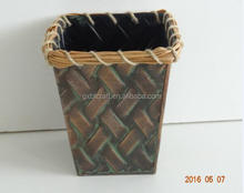 Home and garden decorative classcial metal flower planter with rattan edge