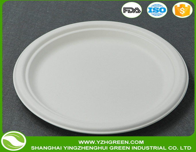 "eco-friendly 7"" biodegradable disposable round <strong>plate</strong>"