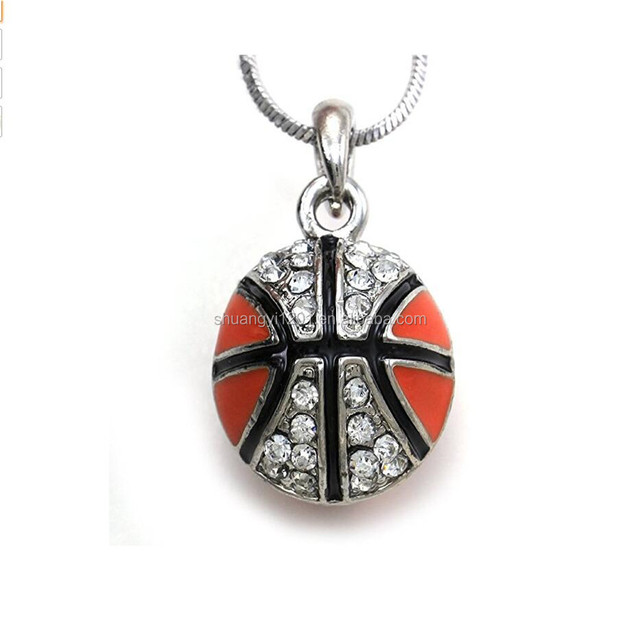 Wholesale Yiwu Basketball Ball Pendants Necklaces Crystal Sports Ball Snake Chain Jewelry Necklaces
