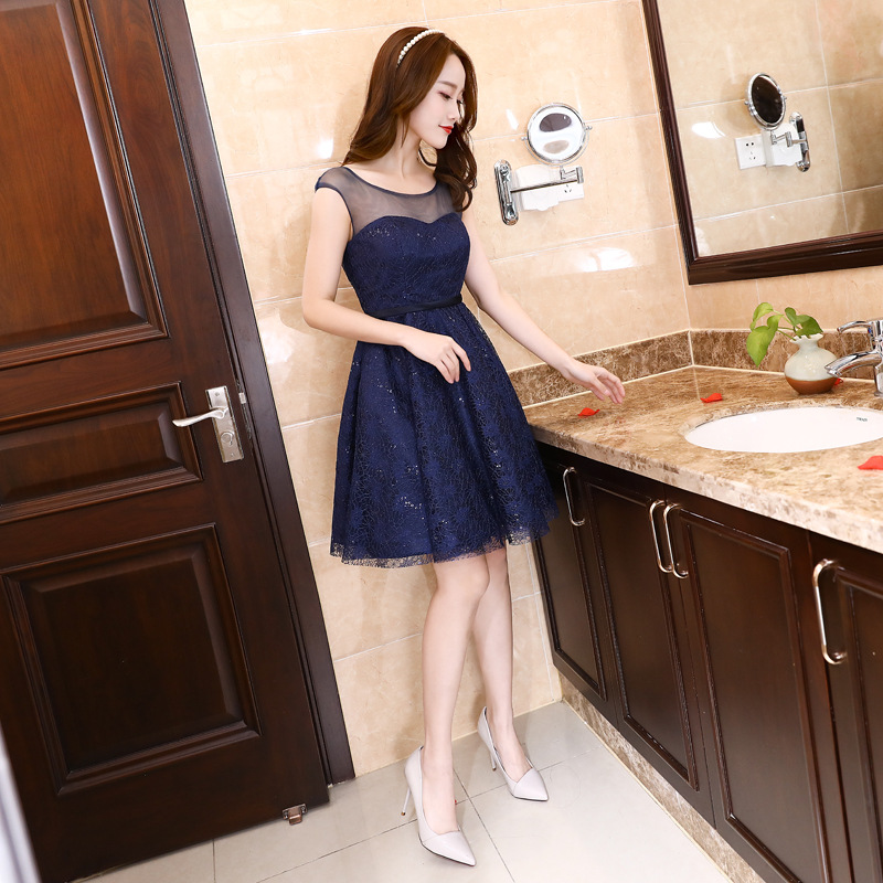 JS 24 Factory Price Wedding Ball Gown Lady Bodycon Dark Blue Bridesmaid Dress Online 050