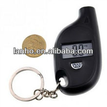 "Mini Portable 0.8"" Lcd Digital Tire Pressure Gauge Keychain Black"