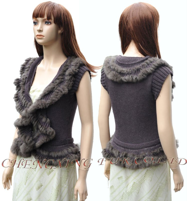 CX-G-B-71B Genuine Rabbit Fur Womens Knitwear