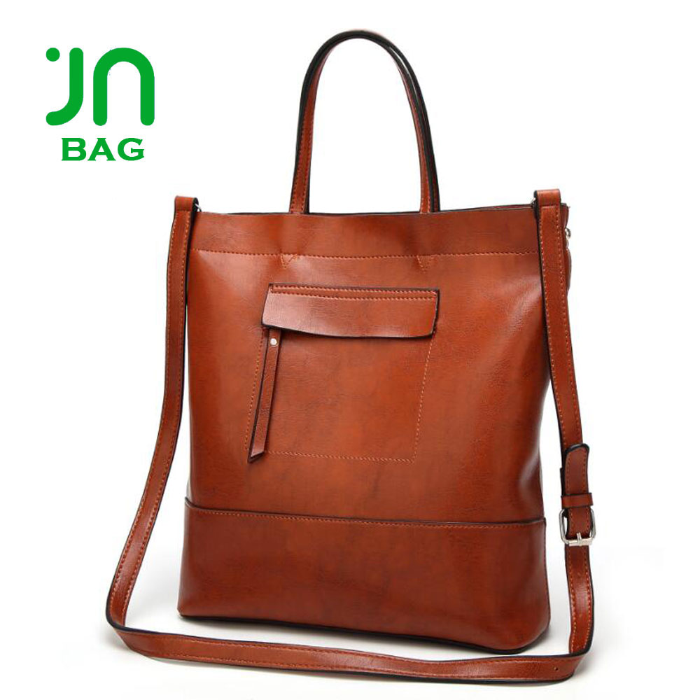 JIANUO European High Quality Classic Retro Large Capacity Pu Leather Tote Handbag