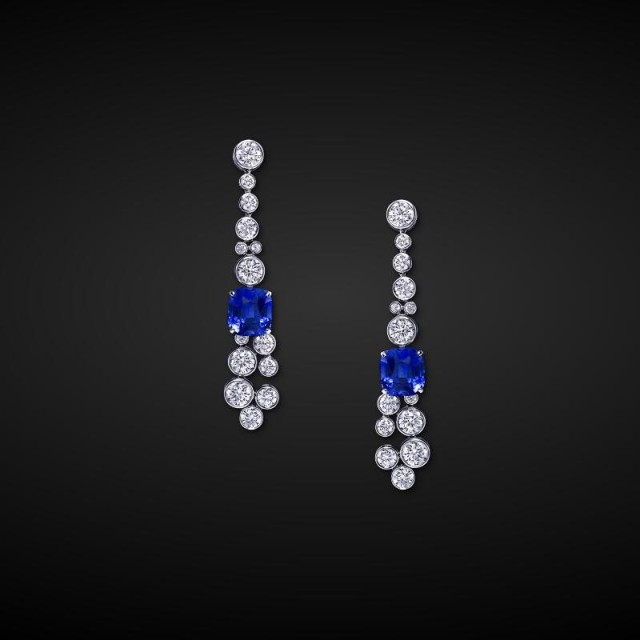 navy blue cubic zircon custom made wedding stud earrings free shipping from China