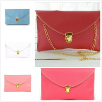 Wholesale PU Leather Cheap Women Envelope Bags Clutch Chain Hand Bags handbags
