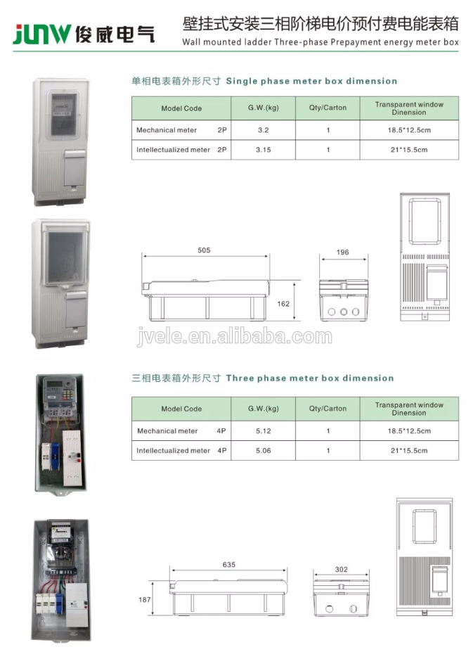 To supply fiberglass reinforced polyester Single phase meter box IP54