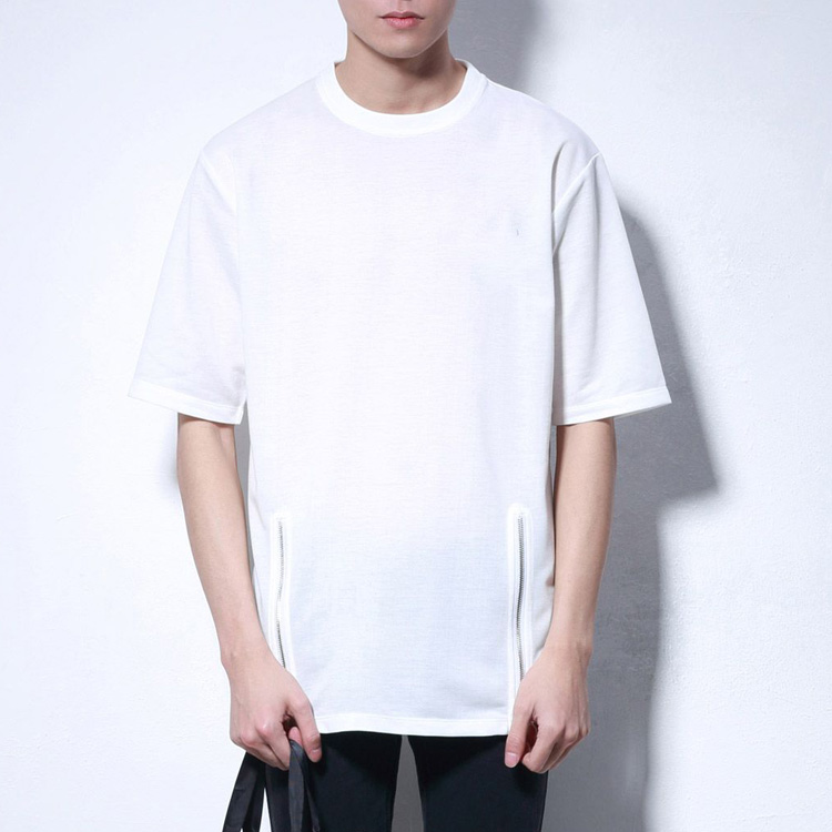 T Shirt Manufacturing Companies Wholesale Men's Clothing White Blank Loose Fit Side Zipper 100% Cotton Men's Tshirt