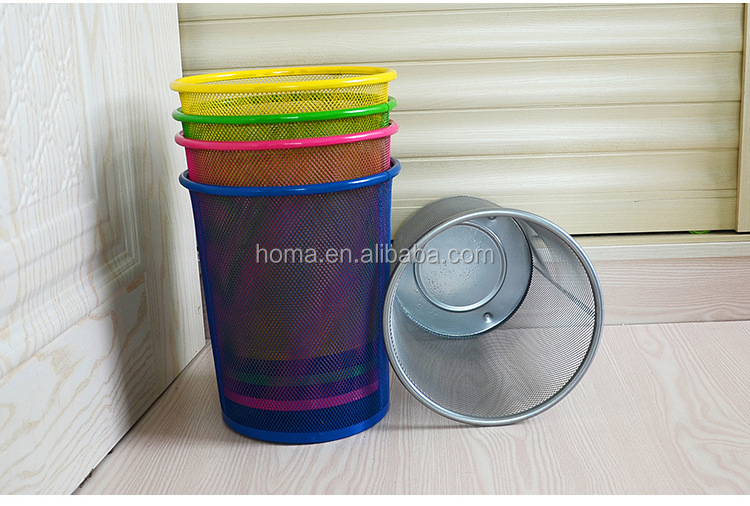 Durable metal round color coded garbage bins