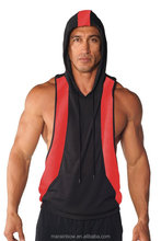 100% Polyester Men's Dri-fit Two-tone Stringer Hoodie Black/Red Gym Pullover Hoodies Wholesale Muscle Workout Sleeveless Hoodie