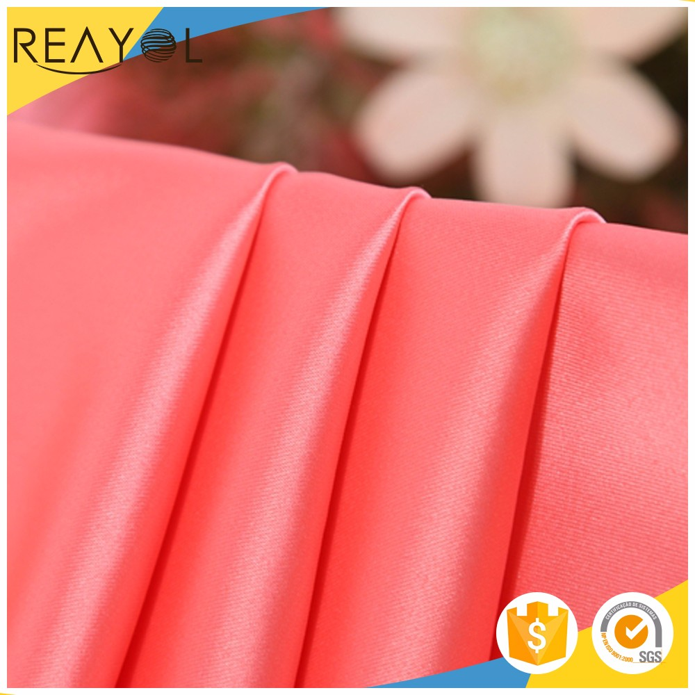 2017 China textile plain elastane matte 100% polyester silk satin fabric
