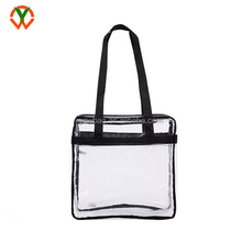 Clear Stadium Security Zippered Shoulder Shopping PVC Tote Bag With Color Fabric Trim and Long Handles