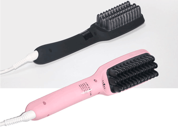Ionic straightening hair brush with LCD