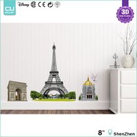 Hot Sale Eiffel Tower 3D Pop Up Wall Stickers Home decor