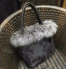 Factory Price Fashionable Ladies Fluffy Real Mink Fur And Silver Fox Fur Handbag Tote Bag