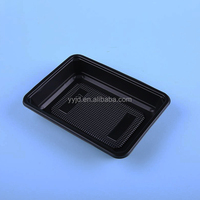 rectangular PP plastic black tray for food packaging