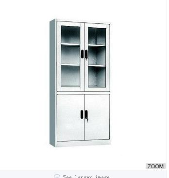 Steel Office Glass Door Double Section Cabinet