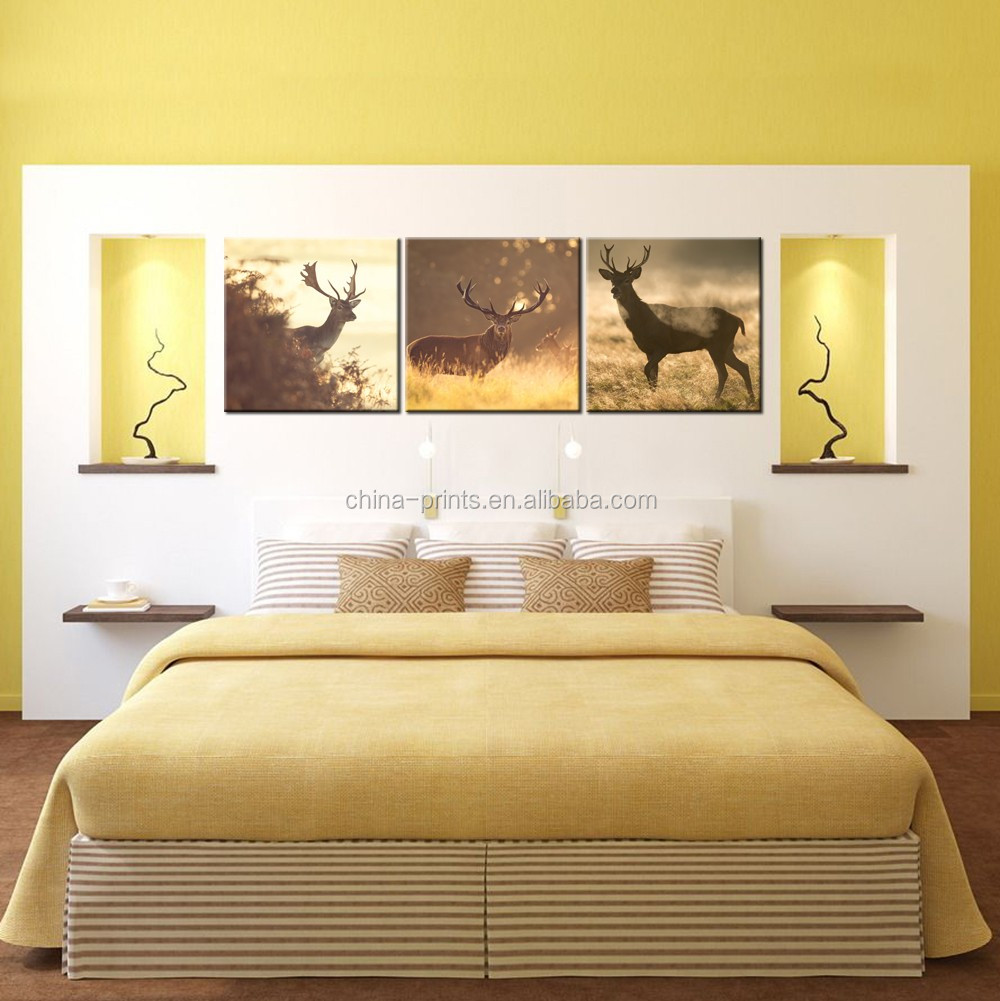 Home and Office Decorative Painting Deer In The Fog Forest HD Prints On Canvas Wall Art Modern Giclee Print Artwork 40x40cmx3pcs