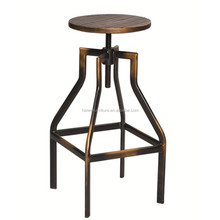 Vintage industrial bar stools with solid wood seat