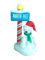 180cm/6ft inflatable Polar bear with the North Pole guidepost for christmas decoration