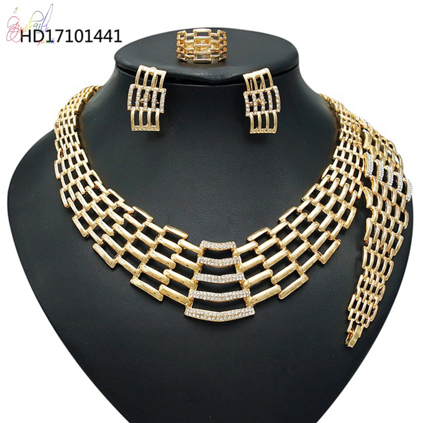 Fashion Pearl Necklace Design Gold Jewelry Sets Women Gold Plated Costume Jewellery