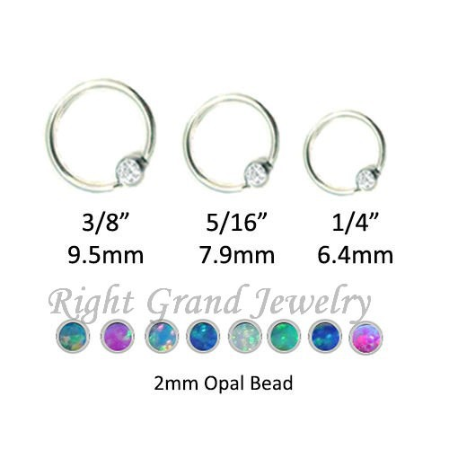316L Surgical Stainless Steel Unique Nose Rings Opal BCR Piercing