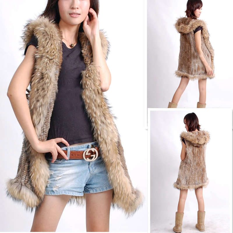 Hebei Graceful Women Hooded Long Rabbit Fur Ladies Puffer Vest With Raccoon Trim