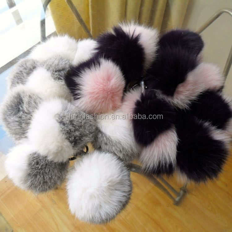 Hot Sale Newest Wholesale Multi color Fox Fur Ball Keychain