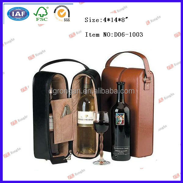 Portable wine carrier / wine glass carrier / leather glass carrier D06-1003