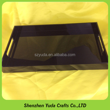 well polished large acrylic lucite tray custom design black acrylic bar serving tray with handles