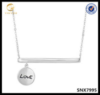 Sterling Silver Sideways Bar Dangling Love Charm Necklace