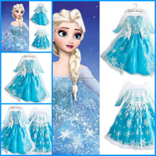 Baby Girls Cosplay Costume Congelados Fever Elsa Dress custom made elsa dress cosplay costume for party elsa frozen dress FC2011