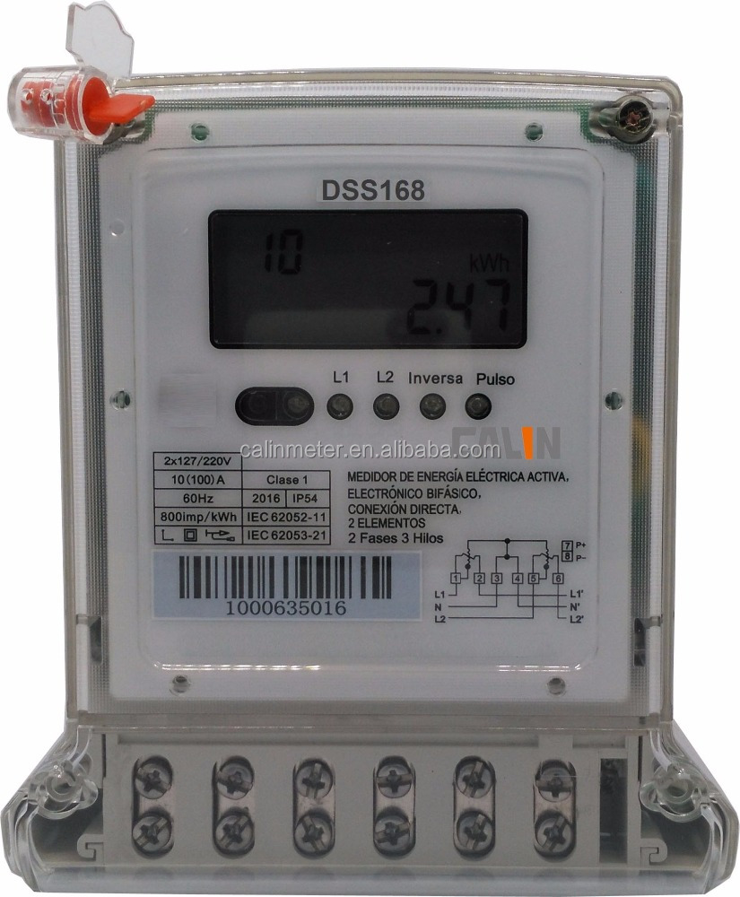 Original Design Two/2 Phase Three/3 Wire Smart Energy Meter For Ecuador