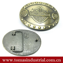 High quality popular classic custom metal embossing logo man antique bronze belt buckle