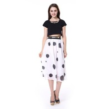 Fashion High Waist Sheer Organza Polka Dots Ball Gown Midi Skirt Girl Women's Mid-Calf Skirt
