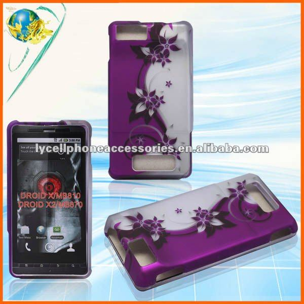 2D design purple vine hard design case for Motorola droid x MB810 Crystal hard Cover