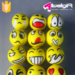 Smily Face promotion Foam Anti stress Ball Yellow Emoji Squeeze PU Stress Ball