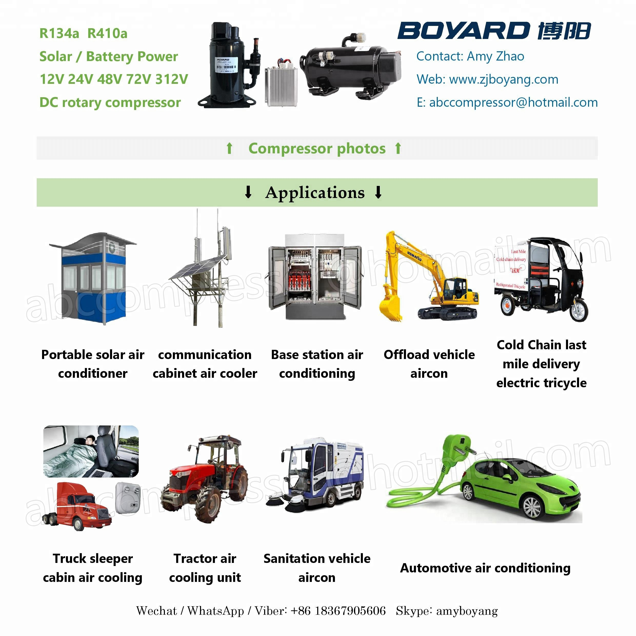 boyard hb075z12 8j12v dc air conditioner compressor 3000btu for Truck tracotor construction machinery excavator air conditioner
