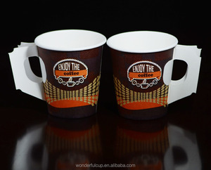 7oz disposable customized cheap coffee paper cup with handle